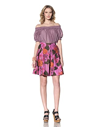 Anna Sui Women's Floral Print Pleated Skirt (Lilac Multi)