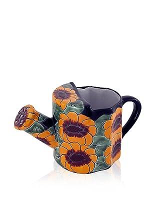 NOVICA Watering Pot, Golden Flowers
