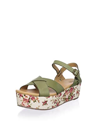 Bass Women's Ophelia Cross Front Flatform Sandal (Sage/Floral)