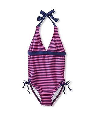 Splendid Girl's Malibu Stripe One Piece Swimsuit (Navy/Fuchsia)