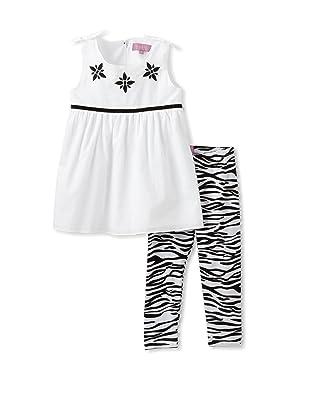 Nicole Miller Girl's Tunic with Zebra Leggings (White)