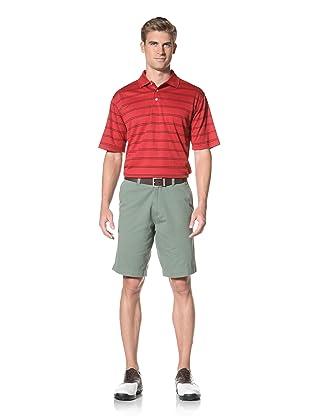 PGA Tour Men's Short Sleeve Stripe Polo (Jockey Red)