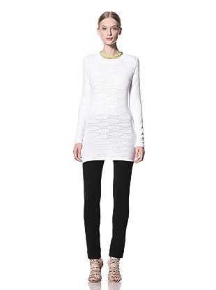 Pink Tartan Women's Crew Neck Texture Sweater (White)