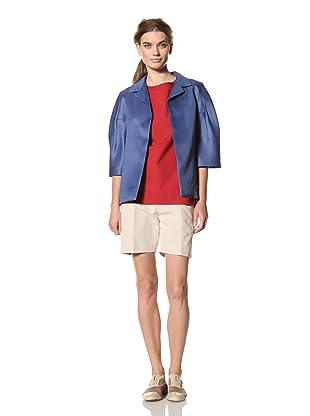 MARNI Women's Half Sleeve Notch Collar Jacket (Blue)
