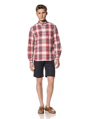 Creep by Hiroshi Awai Men's Long Sleeve Button-Down Shirt (Red/Navy Check)