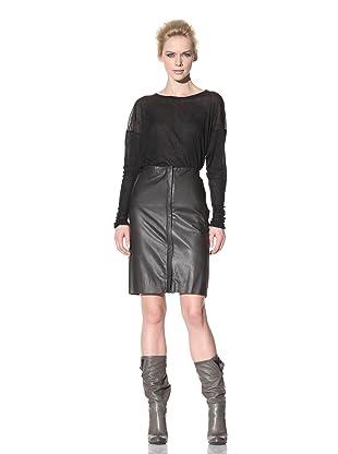 Haider Ackermann Women's Dual Zipper Leather Skirt (Hesse Anthracite)