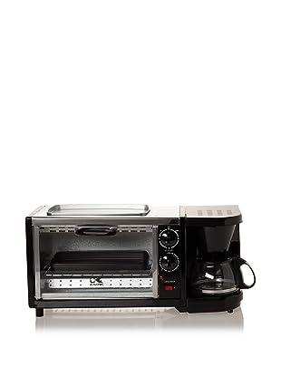 Kalorik Breakfast Set: 3-in-1 Coffee Maker/Oven/Griddle (Stainless/Black)