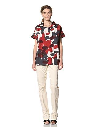 MARNI Women's Short Sleeve Polo Shirt (Cherry/Grey)