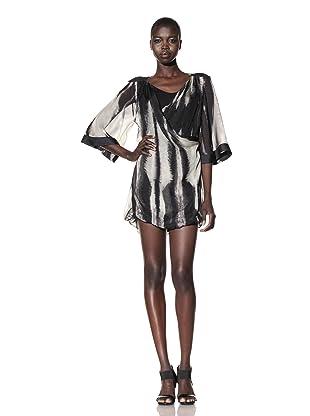L.A.M.B. Women's Stucco Printed Double Layer Dress (Chino/Black)