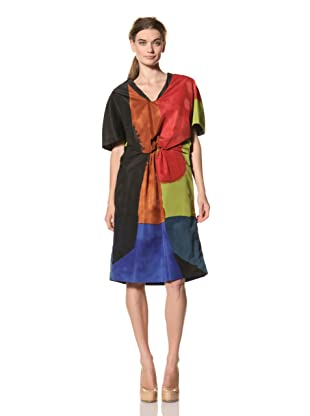 MARNI Women's Abstract Print Short Sleeve Dress (Red/Yellow/Blue Multi)
