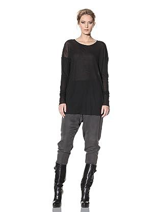 Haider Ackermann Women's Sheer Long-Sleeved Top (Black)