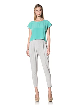 Poleci Women's Pleated French Terry Pant (Heather Grey)