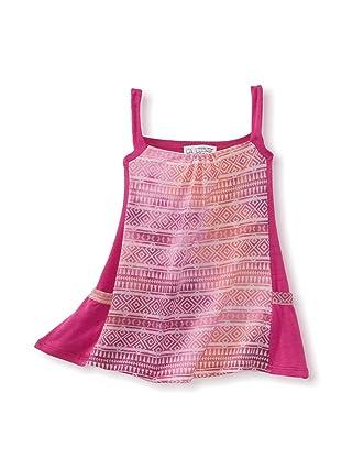LA Lounge Girl's Sleeveless Tie Dye Dress (Magenta)