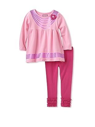 Nicole Miller Girl's Tunic with Ruffle Leggings (Pink)