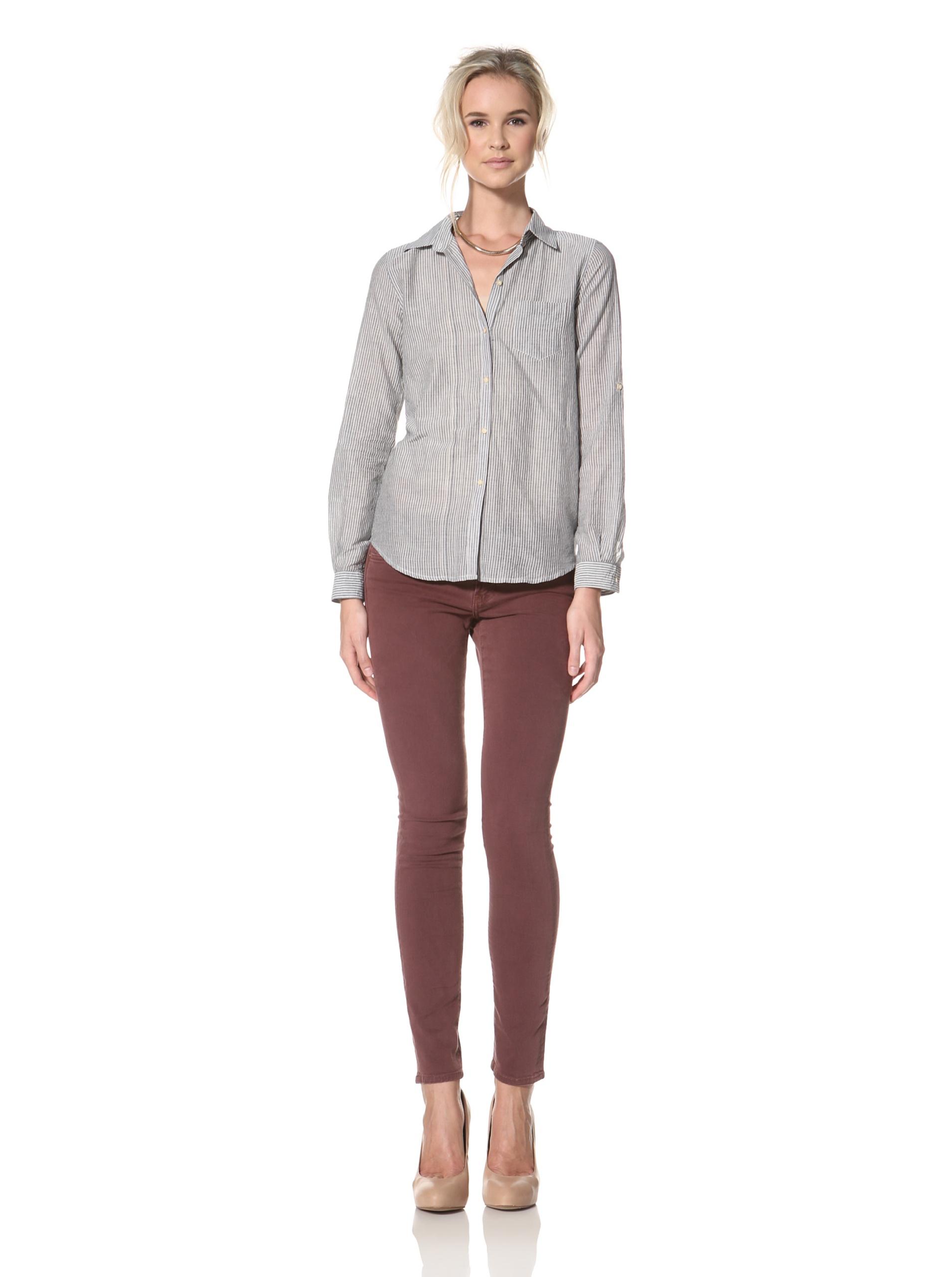 Trovata Women's Amalie Button Front Shirt (Navy /Multi Stripes)