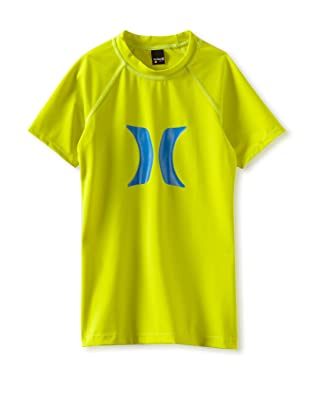 Hurley Girls 7-16 Horizon Rash Guard Short Sleeve Shirt (Lime)