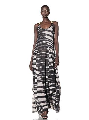 L.A.M.B. Women's Stucco Printed Maxi Dress (Chino/Black)