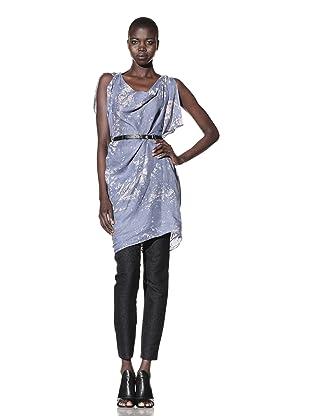 L.A.M.B. Women's Asymmetrical Tunic with Sequins (Light Blue/Snow White)