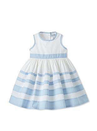 Baby CZ Girl's Sleeveless Striped Dress (White/Blue)