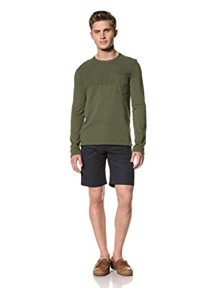 Creep by Hiroshi Awai Men's Fleece Long Sleeve Tee (Army Green)