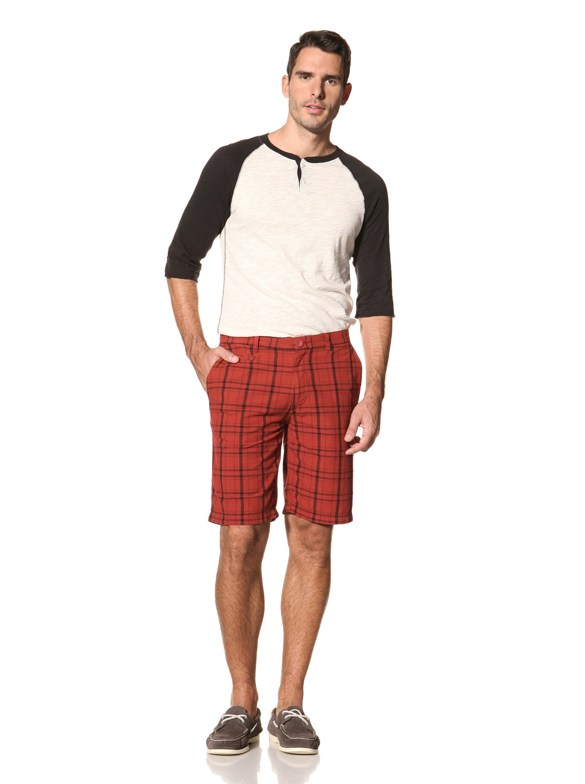 nüco Men's Plaid Shorts (Red)