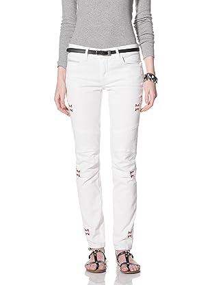 Rockstar Women's Biker Twill Jean (Navajo Embroidery White)