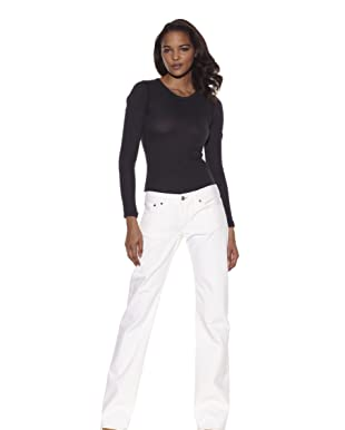 Jean Shop Women's Classic Mid-Rise Jeans (White)