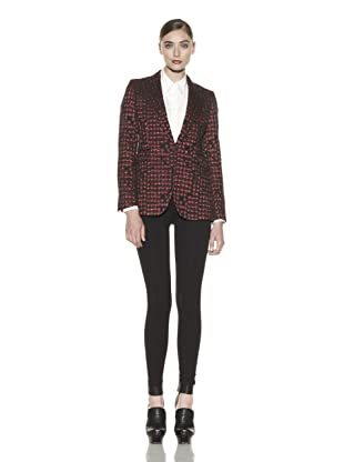 Costume National Women's Metallic Jacquard Jacket (Fantasy Black/Red)