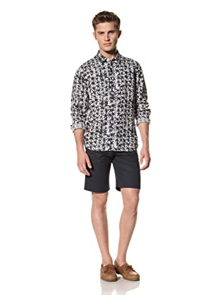 Creep by Hiroshi Awai Men's Long Sleeve Point Collar Linen Shirt (Indigo)