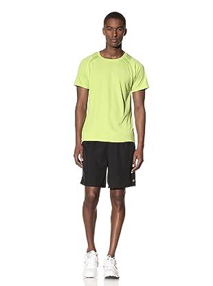 New Balance Men's Woven Run Short (Black/Tender Shoots)