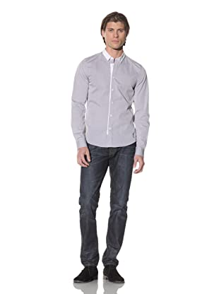 Religion Men's Button-Up Shirt with Contrasting Trim (Grey Chambray)