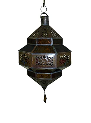 Badia Frosted Glass Trombia Lantern, Blue/Amber/Green/Red
