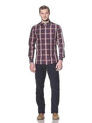 Benson Men's Plaid Shirt (Red/Blue/Brown Plaid)