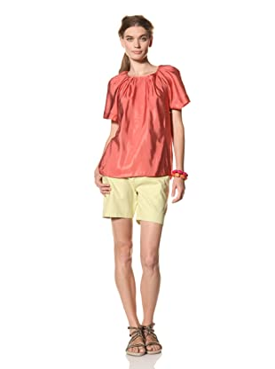 MARNI Women's Short Sleeve Gathered Round Neck Top (Red)
