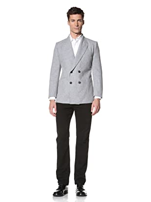 E.Tautz Men's Double-Breasted Blazer (Grey)