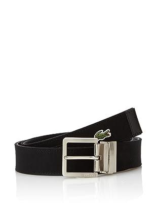 Lacoste Men's Reversible Harness Buckle Belt (Black)