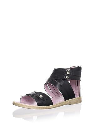 Billowy Kid's Triple Strap Sandal (Black)