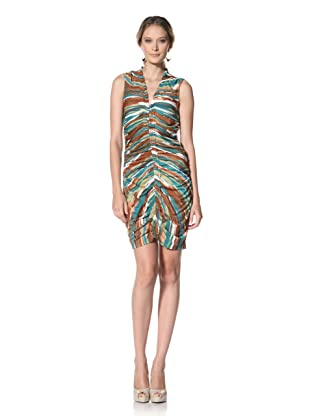 Kenneth Cole Women's Multi-Striped Dress with Rouching (Honey Wheat Combo)
