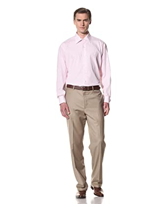 Domenico Vacca Men's Striped Button-Up Shirt (White/Thin Pink Stripes)