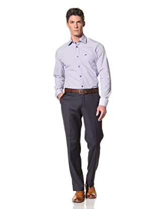 Moods of Norway Men's Kristian Vik Formal Collar Shirt with Contrast Buttons (White/Blue)