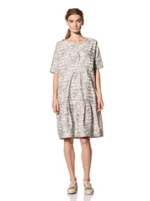 MARNI Women's Abstract Print Short Sleeve Dress with Pleated Hem Detail (Multi)