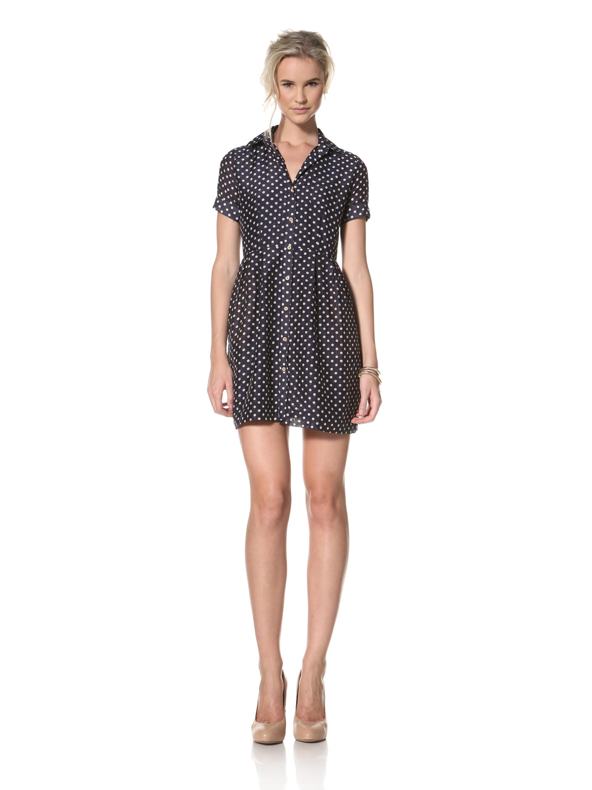 Trovata Women's Donna Shirt Dress (Navy Polka Dot)