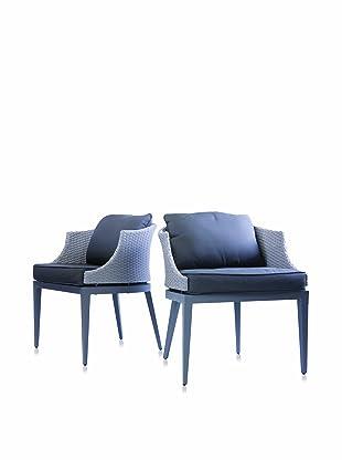 Steve & James Set of 2 Dorothy Dining Chairs, Light/Dark Grey