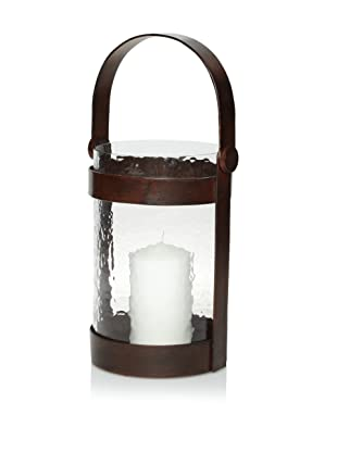 Barclay Butera Equestrian Wrought Iron and Glass Lantern - Short (Brown)