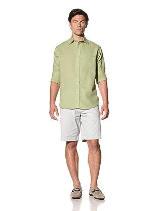 Haspel Men's Lightweight Linen Shirt (Solid Green Linen)