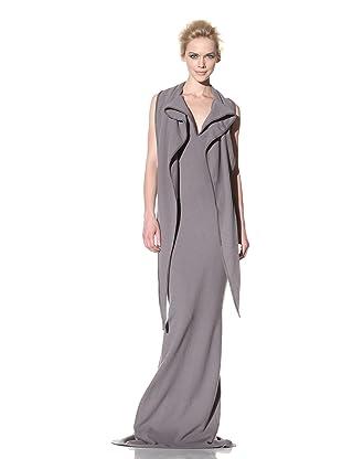 Haider Ackermann Women's Extended Shawl Collar Evening Dress (Smoke)