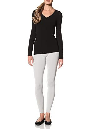 Cosabella Women's Smooth Free Long Sleeve V-Neck Top (Black)