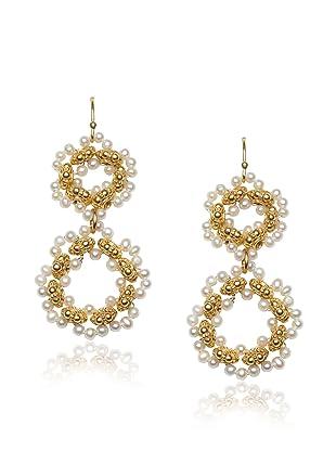 Diane Yang Pearl Double Circle Earrings