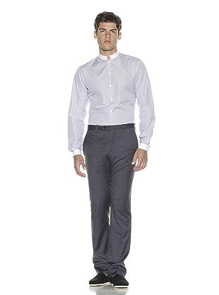 Melinda Gloss Men's Officer Collar Poplin Shirt (White/Blue)