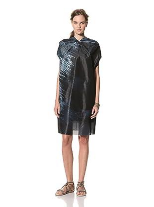 MARNI Women's Abstract Print Short Sleeve V-Neck Dress (Dark Blue)